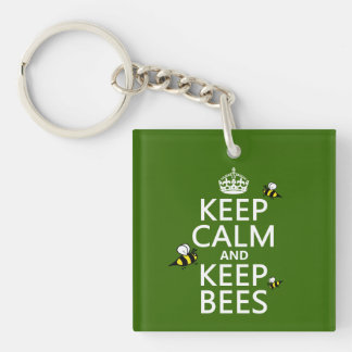 Keep Calm and Keep Bees - all colours Single-Sided Square Acrylic Keychain