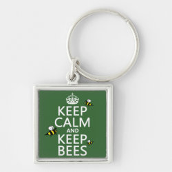 Premium Square Keychain with Keep Calm and Keep Bees design