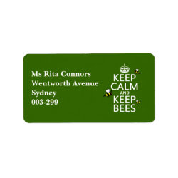 Address Label with Keep Calm and Keep Bees design