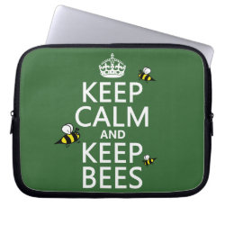 Neoprene Laptop Sleeve 10 inch with Keep Calm and Keep Bees design