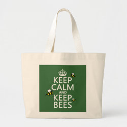 Jumbo Tote Bag with Keep Calm and Keep Bees design