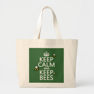 Keep Calm and Keep Bees - all colours Large Tote Bag