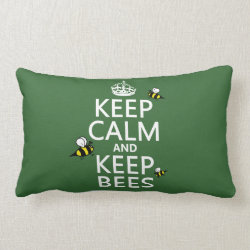 Throw Pillow Lumbar 13' x 21' with Keep Calm and Keep Bees design