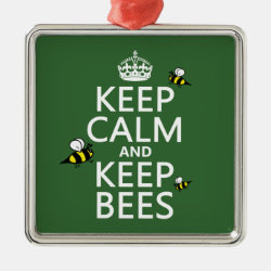 Premium Square Ornament with Keep Calm and Keep Bees design