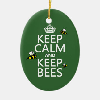 Keep Calm and Keep Bees - all colours Christmas Tree Ornaments