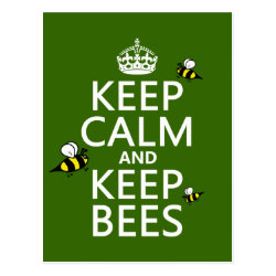 Postcard with Keep Calm and Keep Bees design