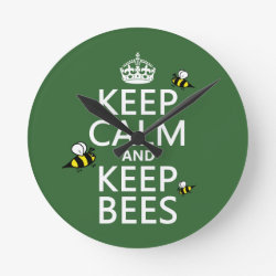 Medium Round Wall Clock with Keep Calm and Keep Bees design