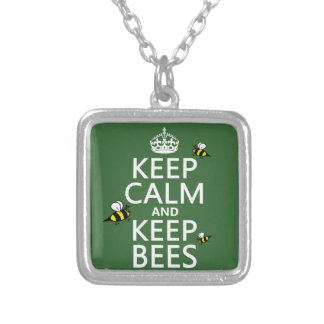 Keep Calm and Keep Bees - all colours Silver Plated Necklace