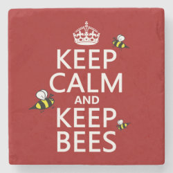 Marble Coaster with Keep Calm and Keep Bees design