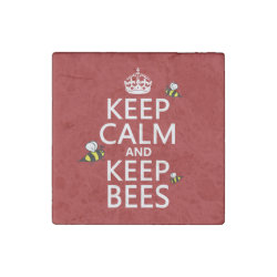 Marble Magnet with Keep Calm and Keep Bees design