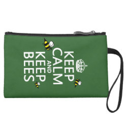 Sueded Mini Clutch with Keep Calm and Keep Bees design