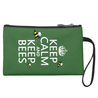 Keep Calm and Keep Bees - all colours Suede Wristlet Wallet