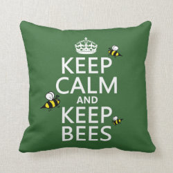Cotton Throw Pillow with Keep Calm and Keep Bees design