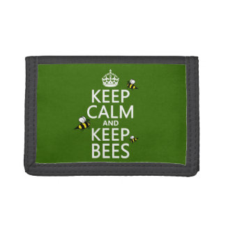 Keep Calm and Keep Bees - all colours Trifold Wallet