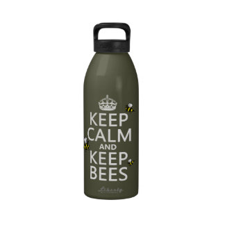 Keep Calm and Keep Bees - all colours Water Bottle