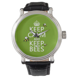 Men's Vintage Black Leather Strap Watch with Keep Calm and Keep Bees design