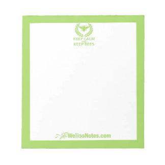 KEEP CALM and KEEP BEES Green Notepad