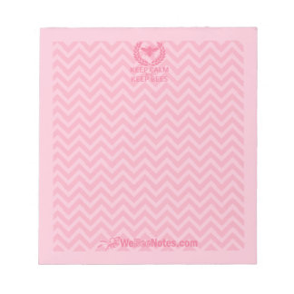 KEEP CALM and KEEP BEES Pink Chevron Notepad