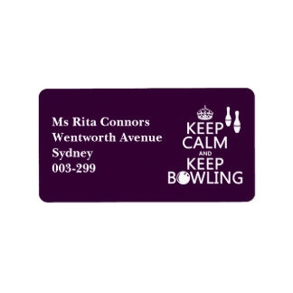 Keep Calm and Keep Bowling - all colours Label