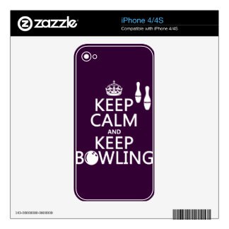 Keep Calm and Keep Bowling - all colours Skin For The iPhone 4
