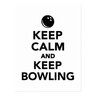 Keep calm and keep bowling postcard