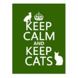 Keep Calm and Keep Cats Postcard