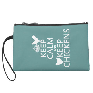 Keep Calm and Keep Chickens (any background color) Suede Wristlet Wallet
