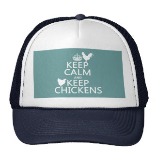 Keep Calm and Keep Chickens (any background color) Trucker Hat