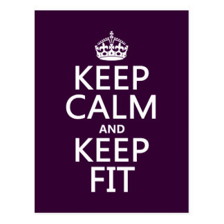 Keep Calm and Keep Fit (customize colors) Post Cards