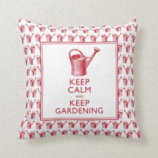 Keep Calm and Keep Gardening Funny Gardener Throw Pillow