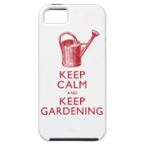 Keep Calm and Keep Gardening Funny Red White iPhone SE/5/5s Case