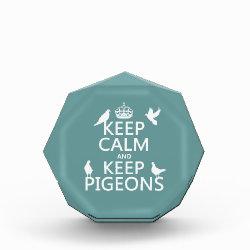 Small Acrylic Octagon Award with Keep Calm and Keep Pigeons design