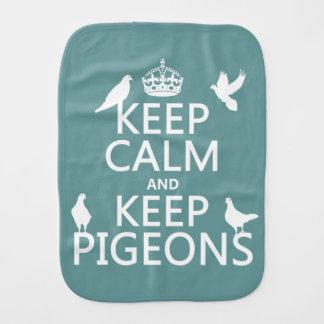 Keep Calm and Keep Pigeons - all colours Baby Burp Cloth
