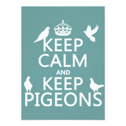5.5' x 7.5' Invitation / Flat Card with Keep Calm and Keep Pigeons design