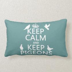 Throw Pillow Lumbar 13' x 21' with Keep Calm and Keep Pigeons design