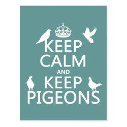Postcard with Keep Calm and Keep Pigeons design
