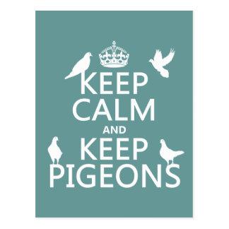 Keep Calm and Keep Pigeons - all colours Postcard