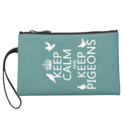 Sueded Mini Clutch with Keep Calm and Keep Pigeons design