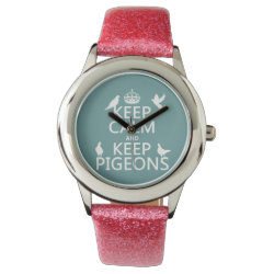 Kid's Pink Glitter Strap Watch with Keep Calm and Keep Pigeons design
