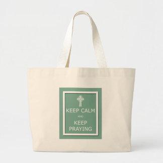 Keep Calm and Keep Praying Jumbo Tote Bag