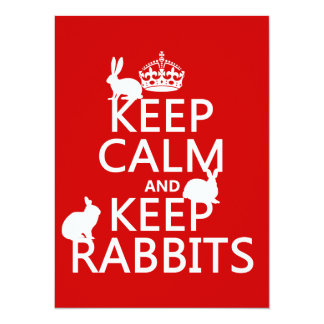 Keep Calm and Keep Rabbits - all colors 5.5x7.5 Paper Invitation Card