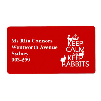 Keep Calm and Keep Rabbits - all colors Shipping Label