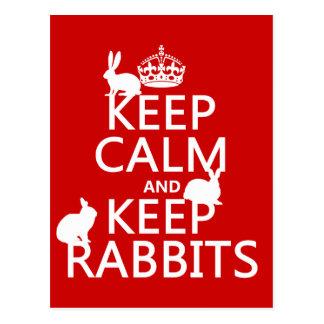 Keep Calm and Keep Rabbits - all colors Postcard
