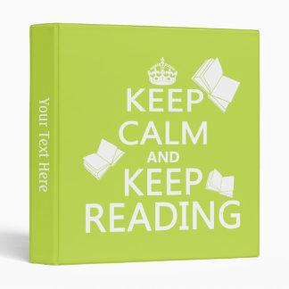 Keep Calm and Keep Reading 3 Ring Binder