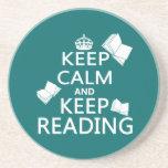 Keep Calm and Keep Reading Drink Coaster