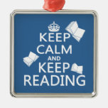 Keep Calm and Keep Reading Square Metal Christmas Ornament