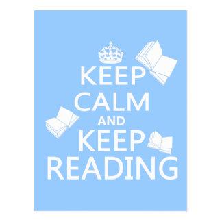 Keep Calm and Keep Reading Postcard