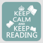 Keep Calm and Keep Reading Square Sticker