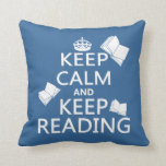 Keep Calm and Keep Reading Throw Pillows