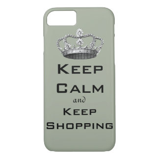 Keep Calm and Keep Shopping Sage Green iPhone 8/7 Case